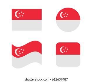 set 4 flags of singapore
