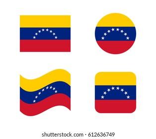 set 4 flags of venezuela