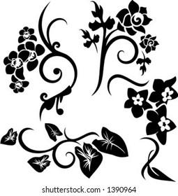 A set of 4 floral design elements.