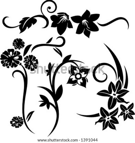 set 4 floral design elements stock vector royalty free 1391044 Black and White Designs Clip Art a set of 4 floral design elements