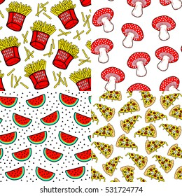 """Set of 4 food patterns with patch badges. French fries in red paper boxes with """"Fries before guys"""" text, pizza slices, cute red mushrooms, watermelons seamless patterns. Comic style of 80s-90s."""