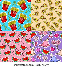 """Set of 4 food seamless patterns with patch badges. Star-shaped lollipops, cherries, ice cream popsicles, french fries in boxes with """"Fries before guys"""" text, pizza slices, watermelons. 80s-90s style."""