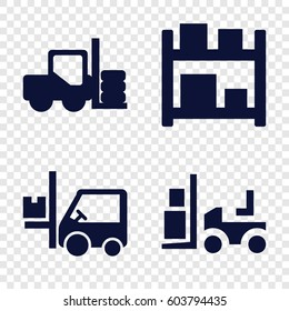 Set of 4 forklift filled icons such as forklift