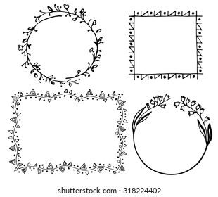Set of 4 frames with floral and geometrical elements.