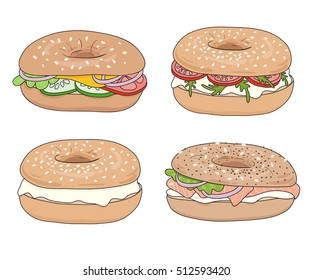 Set of 4 fresh bagel sandwiches with various fillings: cream cheese, salmon fillet (lox), vegetables. Delicious bagel take away fast food breakfast/lunch. Vector hand drawn illustration, isolated.
