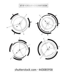 set of 4 futuristic icon elements design tech sci fi concept