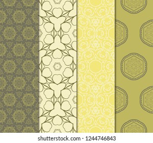 Set Of 4 Geometric Pattern, Floral Lace Geometric Ornament. Ethnic Beautiful Ornament. Vector Illustration. For Greeting Cards, Invitations, Cover Book, Fabric, Scrapbooks