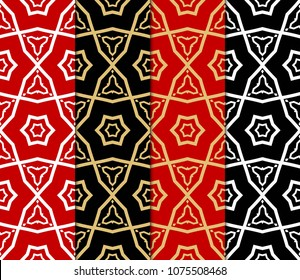 Set of 4 Geometric Patterns in Arabian Style. Seamless Monochrome Colors Linear Background. Line Art. For Fashion Background, Wallpaper, Home Decor, Interior Design.