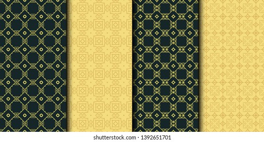 Set of 4 geometric seamless geometric pattern. Modern design. Vector illustration.