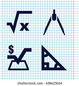 Set of 4 geometry filled icons such as mathematical square, compass, square root