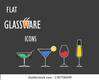 A set of 4 Glasswares, vector art done in Inkscape.