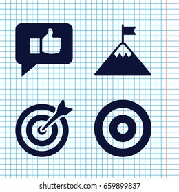Set of 4 goal filled icons such as target, thumb up