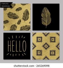 Set of 4 gold design card templates. Seamless patterns included