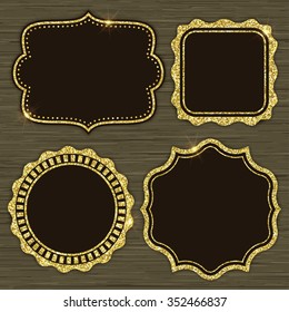 Set of 4 gold glitter frames for holiday designs or invitations. Vector illustration
