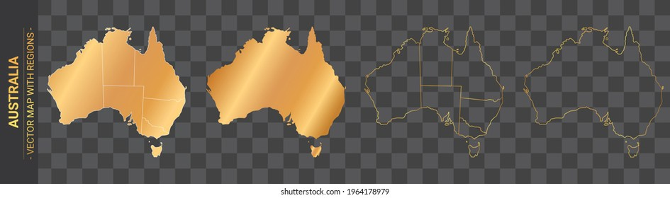 set of 4 gold political maps of Australia with regions isolated on transparent background