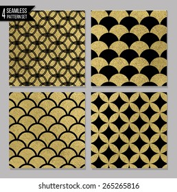 Set of 4 gold seamless patterns