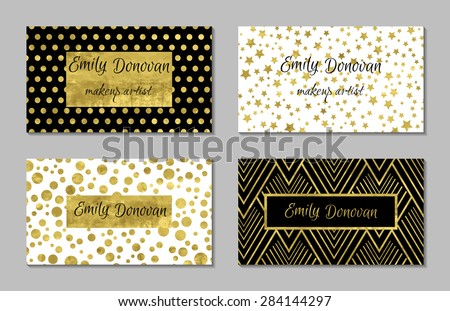 Set 4 gold white business card stock vector royalty free 284144297 set of 4 gold and white business card template or gift cards texture of gold accmission Image collections