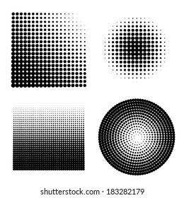 Set of 4 halftones. Vector illustration.