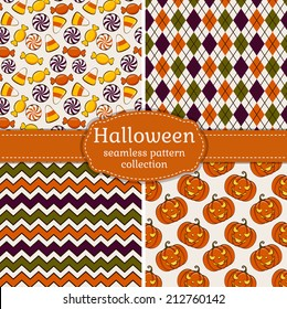 Set of 4 halloween backgrounds. Collection of seamless patterns in white, orange, green and purple colors. Vector illustration.