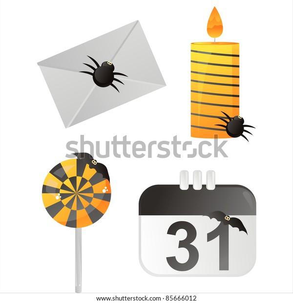 set of 4 halloween calendar icons