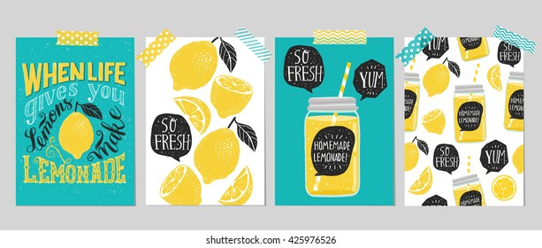 "Set of 4 hand drawn cards. Retro ""When life gives you lemons make lemonade"" motivation poster with modern calligraphy and lemon, cards with lemons,  lemonade speech bubble and handwritten lettering"
