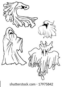 Set of 4 hand drawn ghosts, black and white