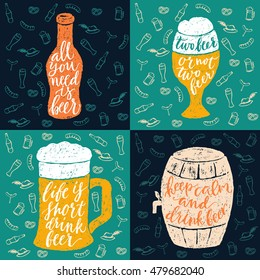 Set of 4 hand lettering phrases about beer for a pub, bar and Oktoberfest. Vector hand written brush pen calligraphy funny quote in a bottle, glasses and barrel form.