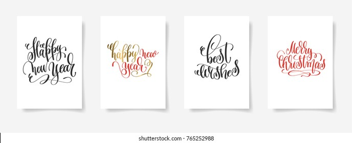 set of 4 hand lettering posters - happy new year, best wishes, merry christmas, calligraphy vector illustration