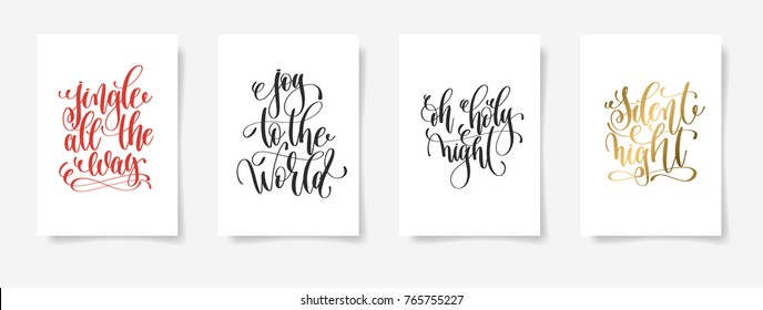 set of 4 hand lettering vector posters on a white sheet of paper - jingle all the way, joy to the world, oh holy night, silent night - calligraphy illustration collection
