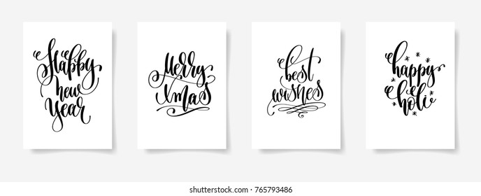 set of 4 hand lettering vector posters on a white sheet of paper - happy new year, merry xmas, best wishes, happy holi - calligraphy illustration collection