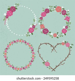 Set of 4 hand-draw vector flower wreaths