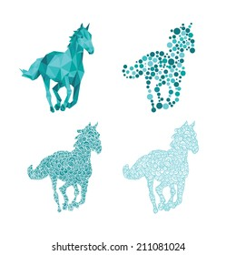 Set of 4 horse silhouettes
