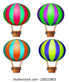 Set of 4 hot air balloons
