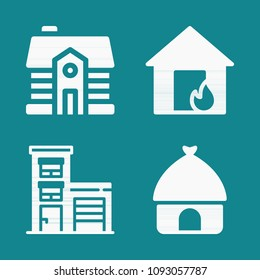 Set of 4 house filled icons such as house