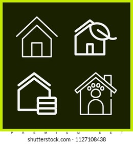 Set of 4 house outline icons such as home, real estate