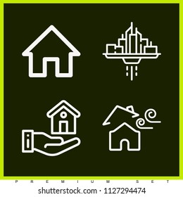 Set of 4 house outline icons such as web page home, mortgage, broken roof
