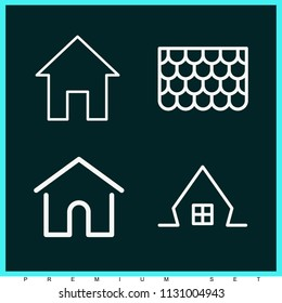 Set of 4 house outline icons such as home