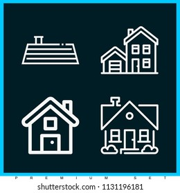 Set of 4 house outline icons such as house