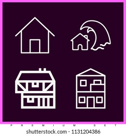 Set of 4 house outline icons such as home, house