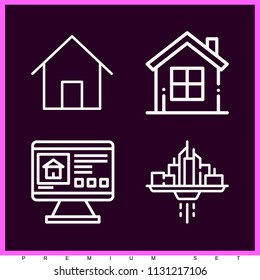 Set of 4 house outline icons such as home, computer