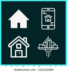 Set of 4 house outline icons such as house, house black building shape, smartphone