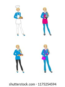 Set of 4 images of a girl in different professional form: a cook,a florist,a salesman, a photojournalist.