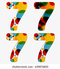Set of 4 isolated abstract lava lamp styled number seven - 7, first simple, second multiplied, third with outlined number seven, fourth with outlined every circle and the whole seven