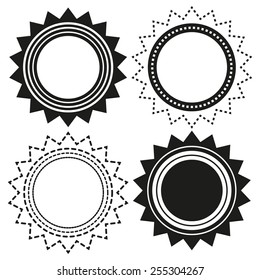 Set of 4 isolated black and white emblem (badges) in shapes of sun (star or flower)