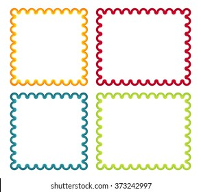 Set of 4 isolated colorful curl frames in red, blue, green and yellow color