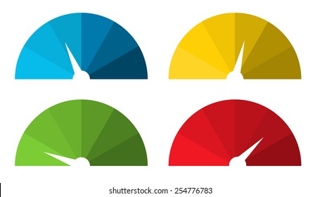 Set of 4 isolated colorful speedometers in color shades