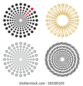Set of 4 isolated design elements in different colors