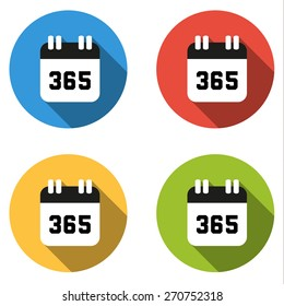 Set of 4 isolated flat colorful buttons (icons) for number 365 - number of days in year