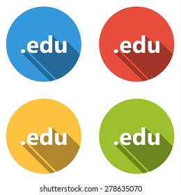 Set of 4 isolated flat colorful buttons (icons) for .edu domain