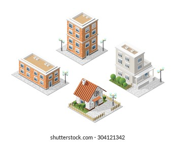 Set of 4 Isometric High Quality City Elements with 45 Degrees Shadows on White Background. Residential